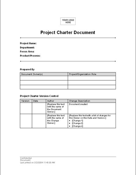 Project charter template for word 2003 or newer inside for Software project charter template