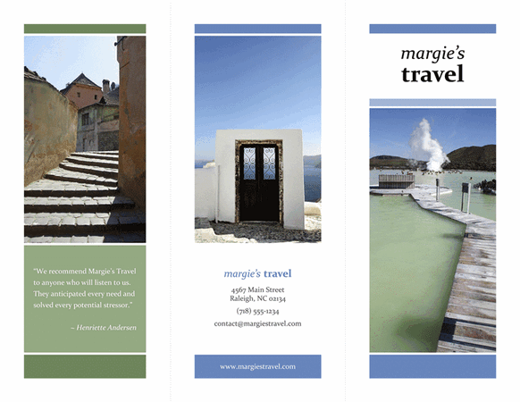 tri fold travel brochure template - tri fold travel brochure blue green design template for