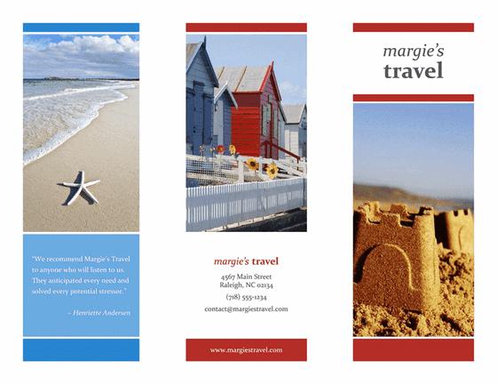 tri fold travel brochure red gold blue design template for powerpoint 2013 inside ppt slides. Black Bedroom Furniture Sets. Home Design Ideas