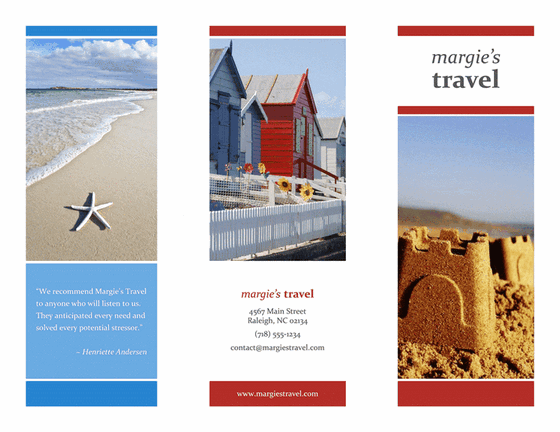 Tri fold travel brochure red gold blue design template for Tri fold travel brochure template