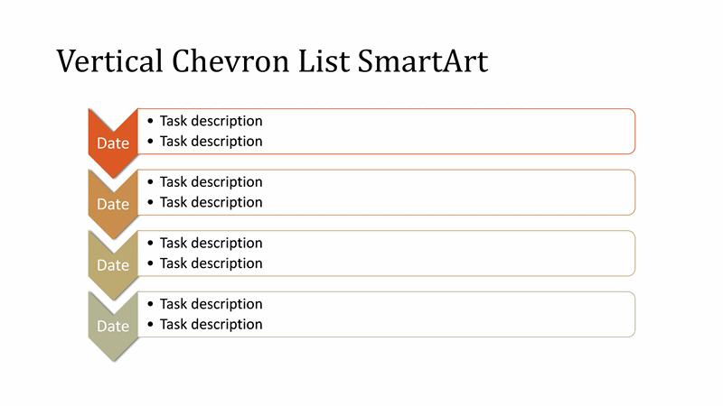 vertical chevron list diagram smartart slide  multicolor