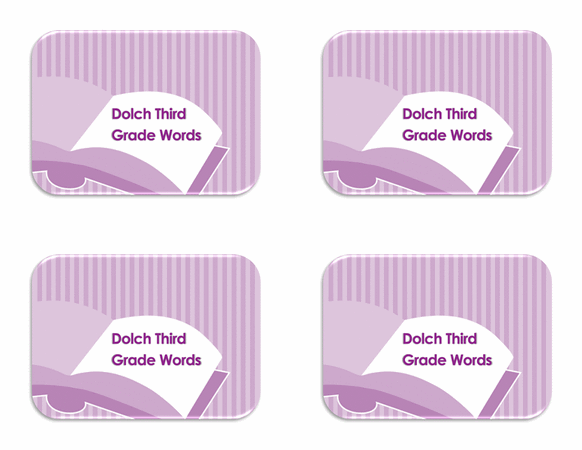 Vocabulary 3rd Grade Flash Card Template Word