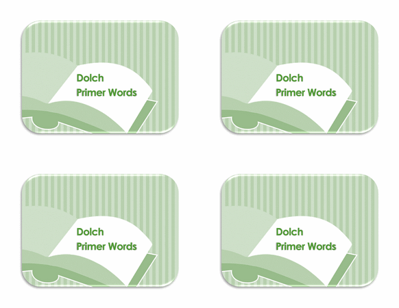 Vocabulary Preprimer Flash Card Template