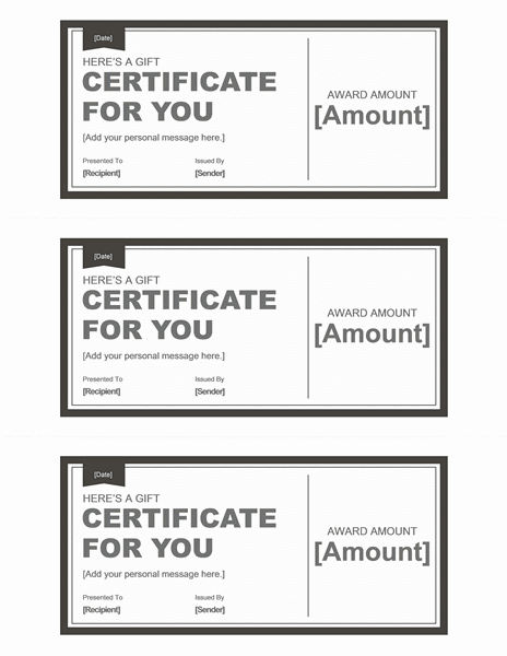 Black and white gift certificate template template for for This entitles the bearer to template certificate