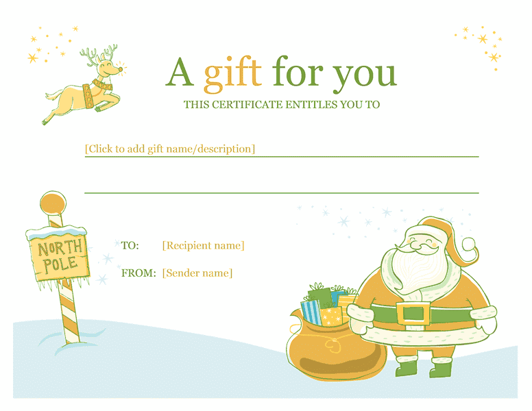 Christmas Gift Certificate Template Template For Word 2013 Or – This Certificate Entitles You to Template