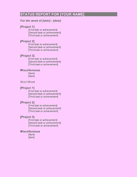 weekly work log template