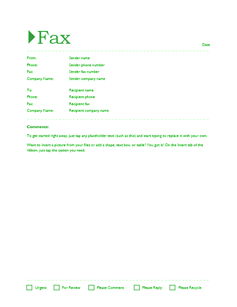 fax templates microsoft word 2010