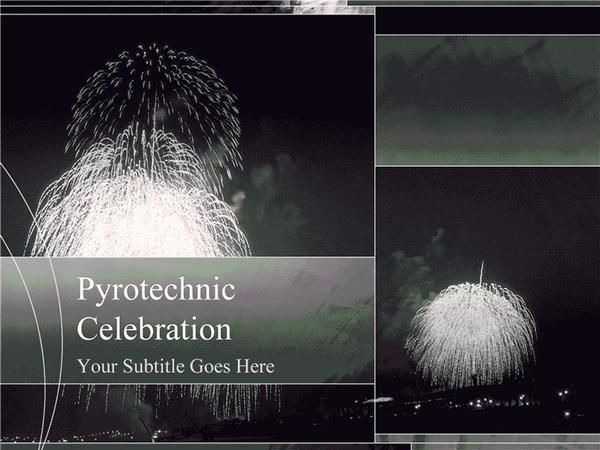 Fireworks Design Slides Grayscale