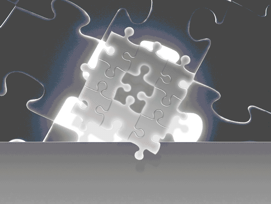 Glowing Puzzle Pieces Design Slides Grayscale