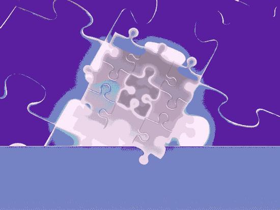 Glowing Puzzle Pieces Design Slides Purple