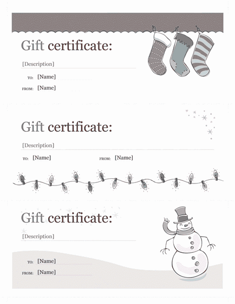 Holiday Gift Certificate Template Sample 1