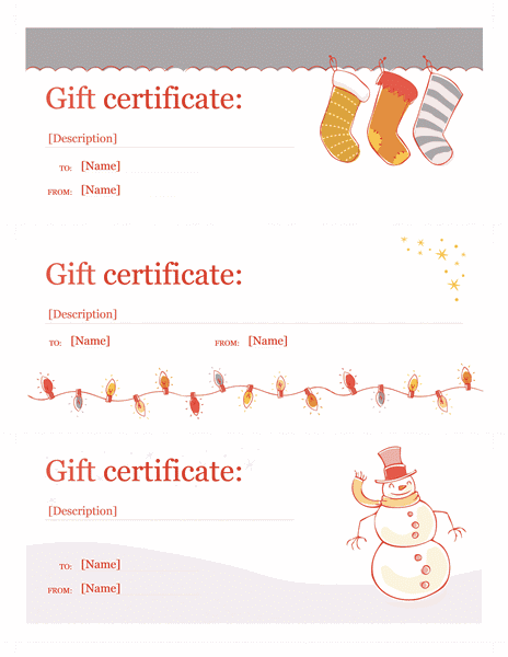 Holiday Gift Certificate Template Sample 2