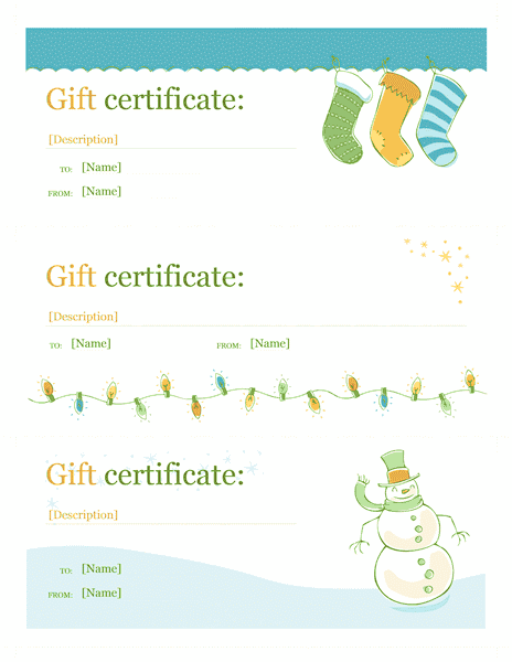 Holiday gift certificate template template for word 2013 for Certificate template word 2013