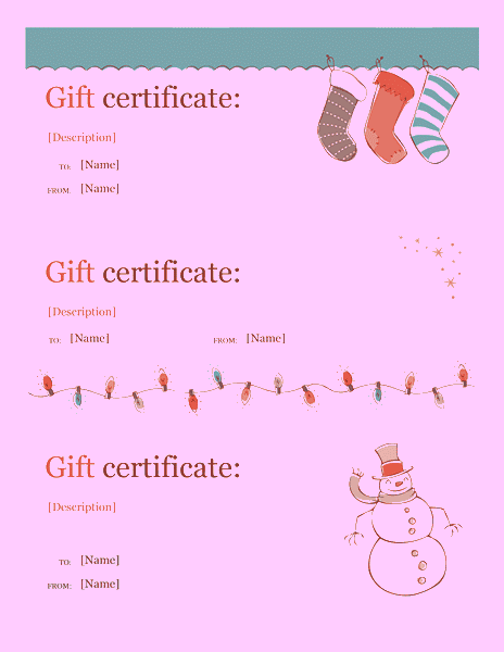Holiday Gift Certificate Template Sample 6