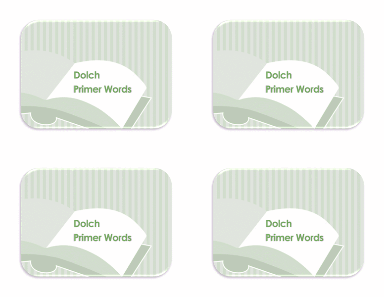 Vocabulary Preprimer Flash Card Template 02
