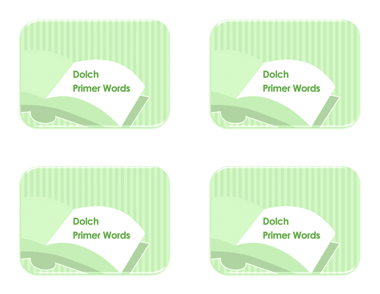 Vocabulary Preprimer Flash Card Template 03