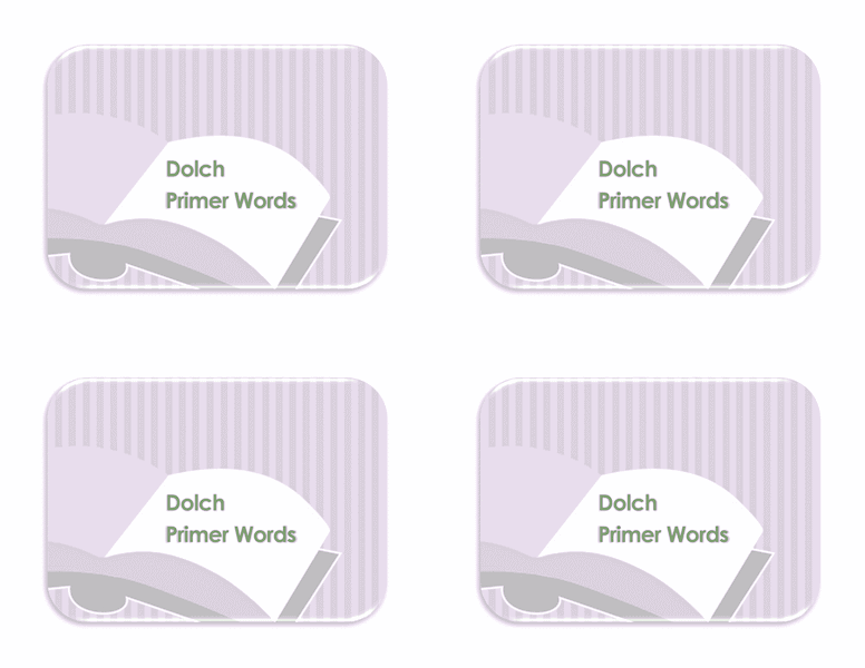 Vocabulary Preprimer Flash Card Template 04